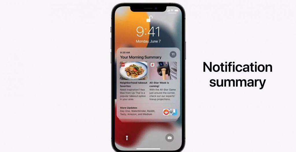 Notification summary on iOS 15