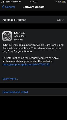 iOS 14.6 Software Update