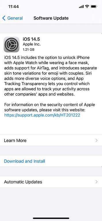 iOS 14.5 on iPhone