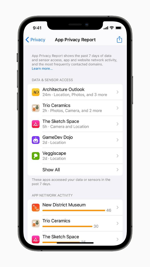 iOS 15 Settings App Privacy Report