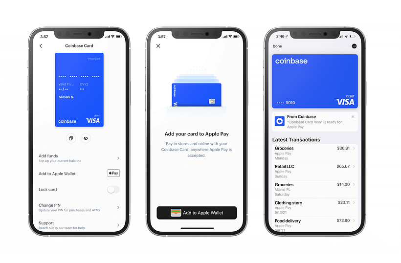 Coinbase App with Apple Pay Support
