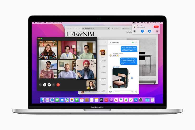 macOS Monterey running FaceTime, Messages, and Safari